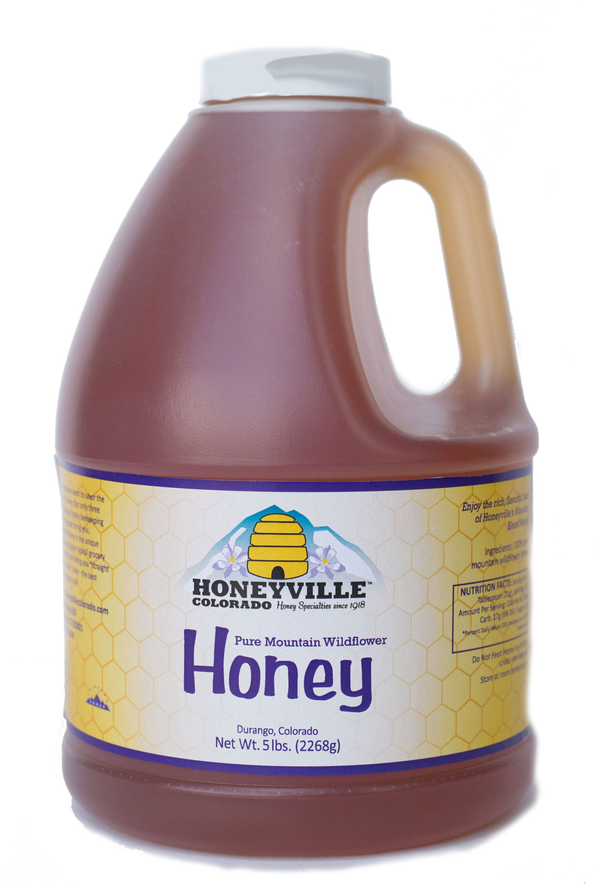 PLASTIC JUG: MOUNTAIN WILDFLOWER HONEY 5 LB