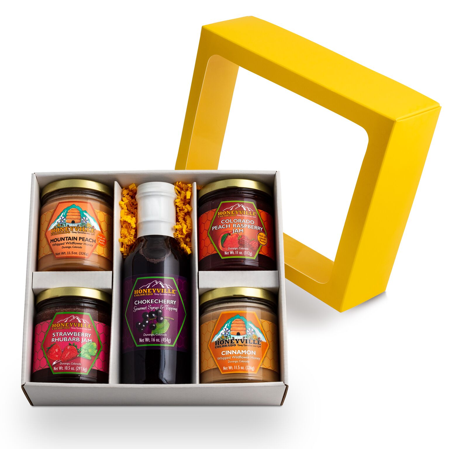 GIFT BOX:  TASTE OF DURANGO W/ CHOKECHERRY SYRUP AND SELECTION OF FOUR JARS