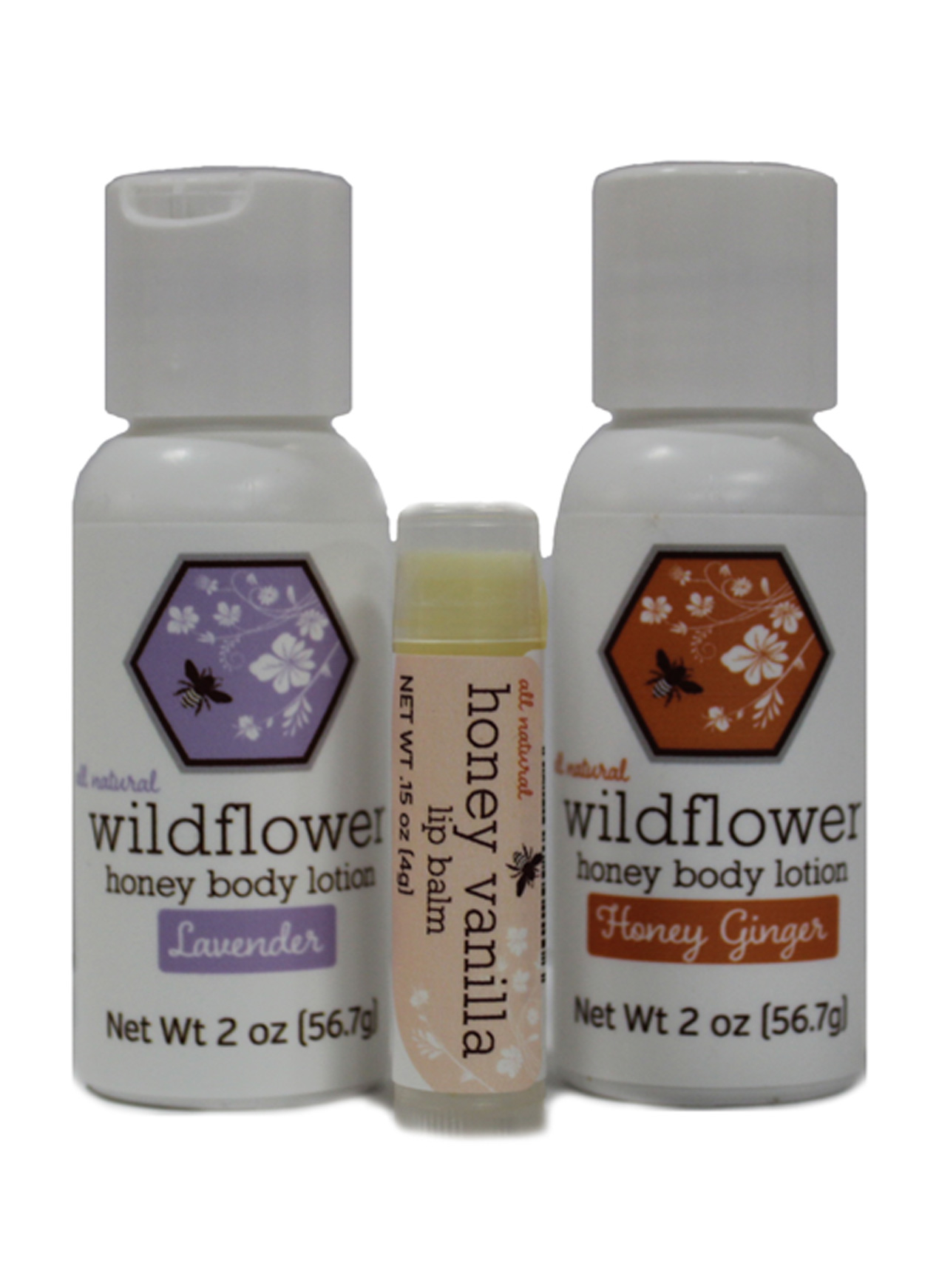 GIFT SET:  WILDFLOWER BODY CARE w/ Honey Vanilla Lip Balm